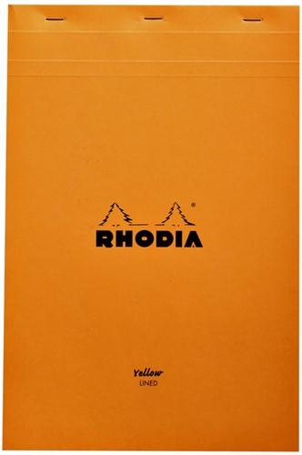 Schrijfblok Rhodia A4 80vel geel lijn