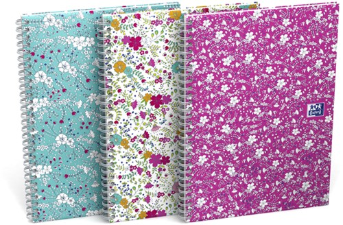 Spiraalblok Oxford Floral A5 lijn 60vel assorti