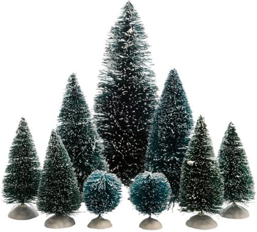 Mini kunstdennenbomen set à 9 stuks