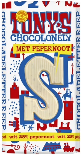 Tony's Chocolonely wit pepernoot letter S 180gr