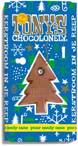 Chocolade Tony's Chocolonely reep 180gr puur mint candy cane