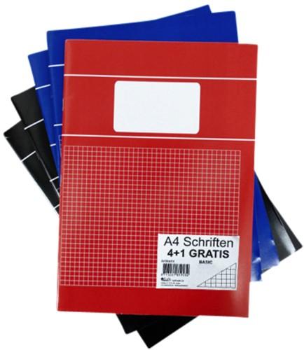 Schrift basic A4 80blz ruit 5mm assorti