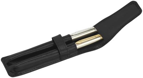 Pennenetui 212 2-delig nerfleer zwart