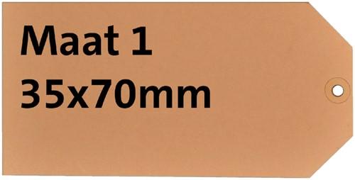 Label karton nr1 200gr 35x70mm chamois 1000stuks