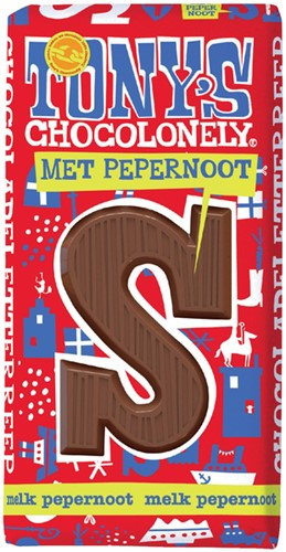 Chocolade Tony's Chocolonely letterreep 180gr pepernoot